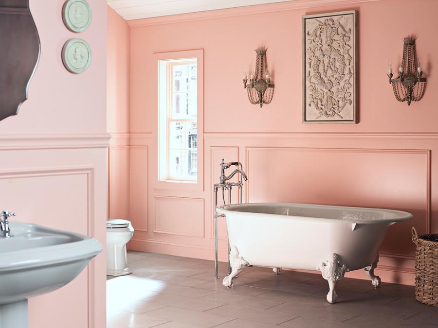 banheir-elegante-rosa-com-banheira-classica-kohler