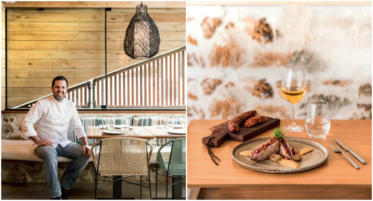 A madeira que reviste a maior parte do restaurante é de demolição