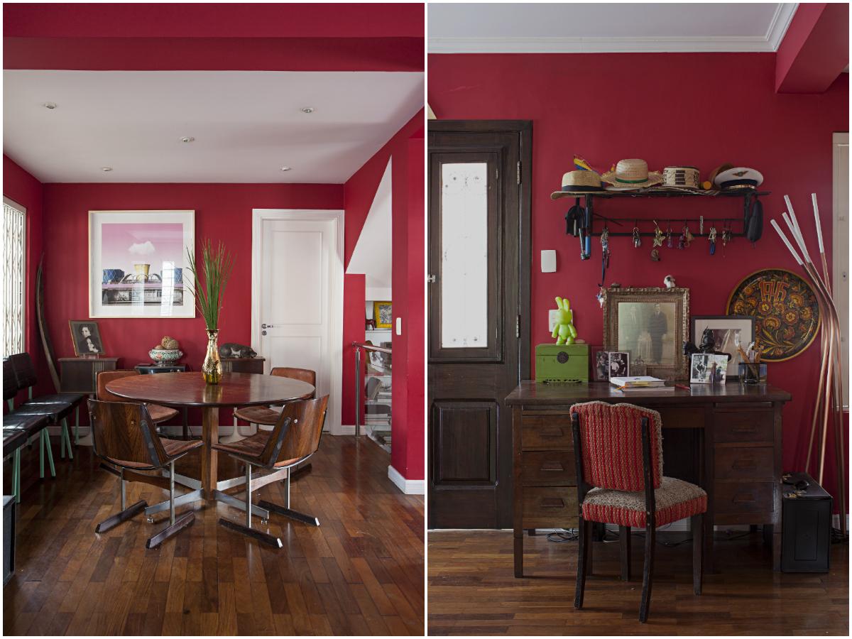 Escrivaninha e a mesa redonda são destaques da sala