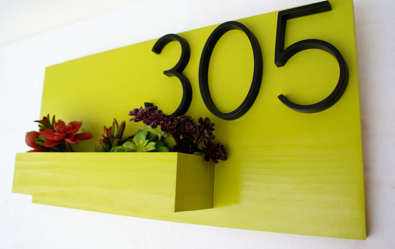 Modern citrus green address planter by GoodToTheGrain