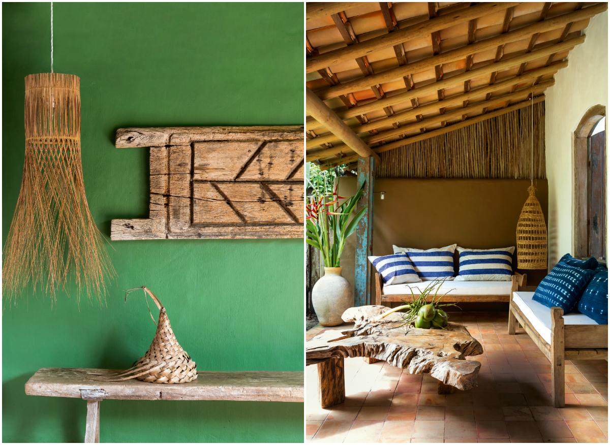 Luminária produzida por índios e uma varanda com mesas de pequi