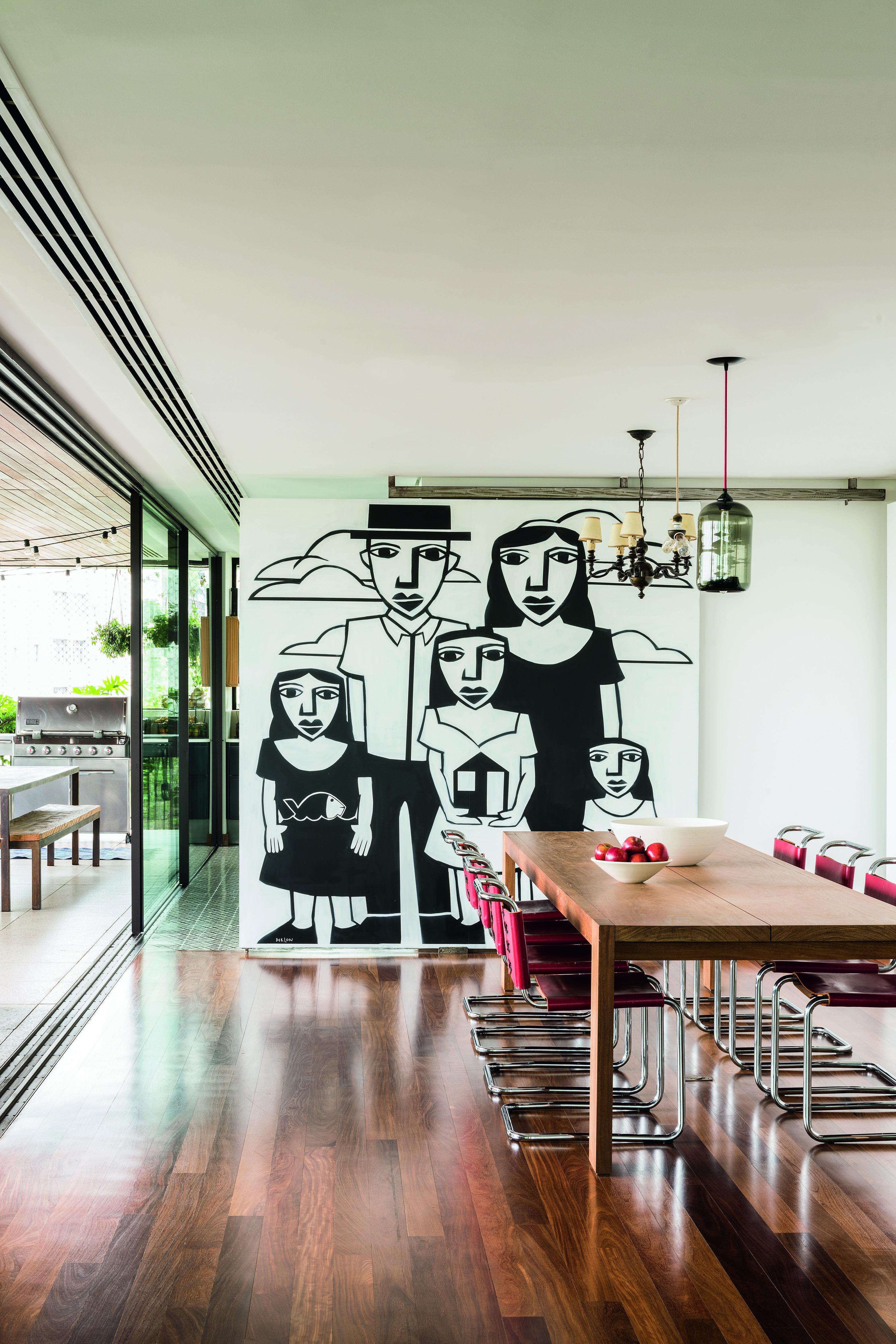Grafite de Derlin Almeida como decoração de um apartamento