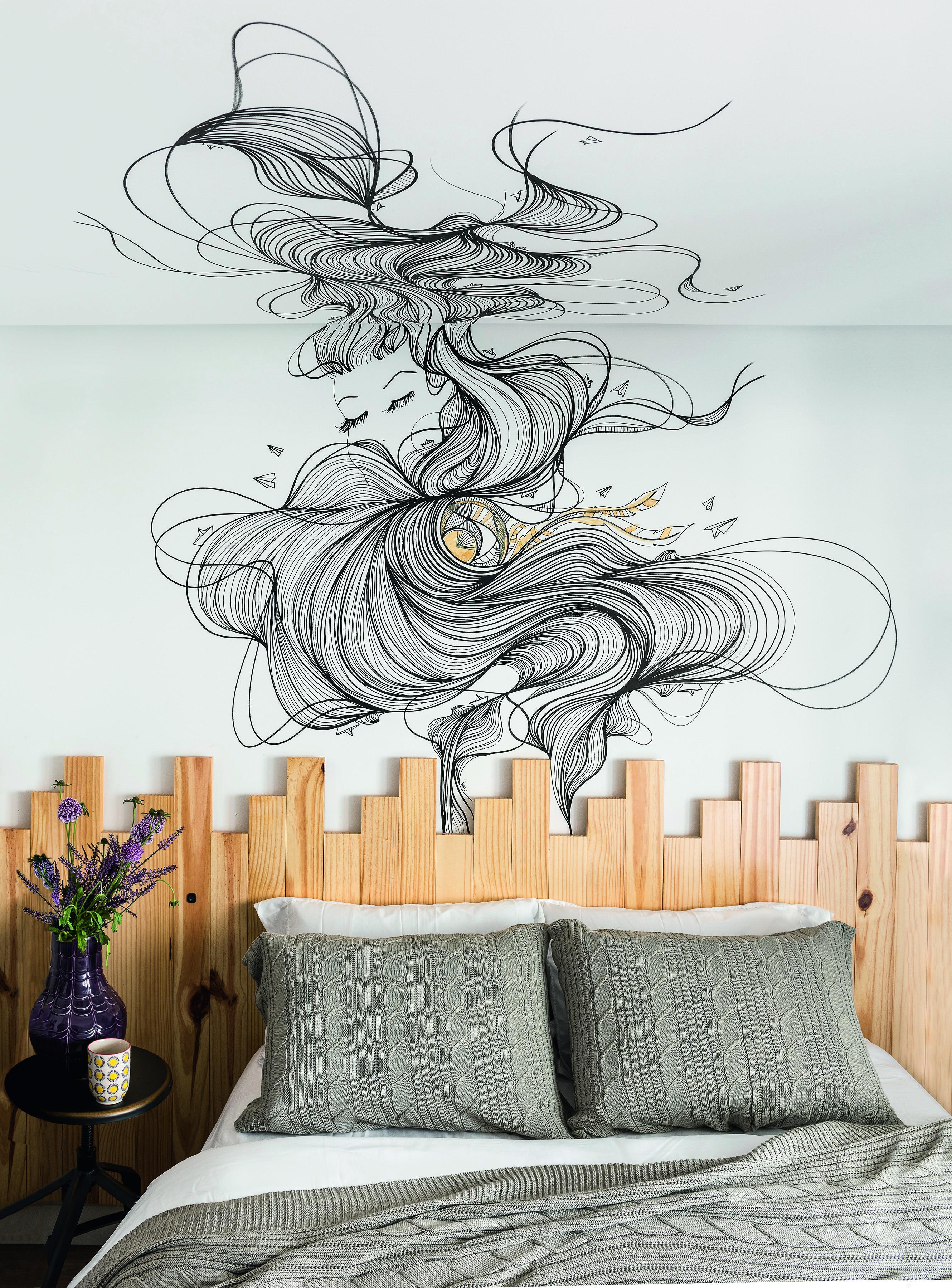 Grafite da designer Kalina Juzwiak no quarto, com projeto da arquiteta Alane Pestana.