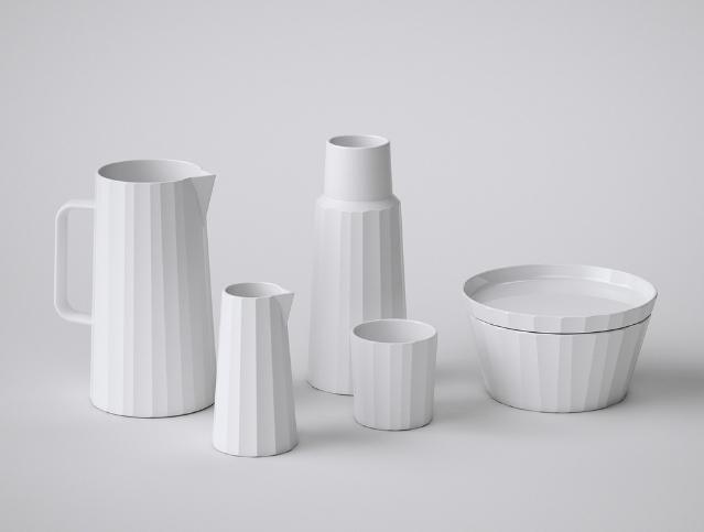 A linha GIFU de Sebastian Conran é feita em parceria com a japonesa Kaneko Kohyo e vem com leiteira, copo e bowl.