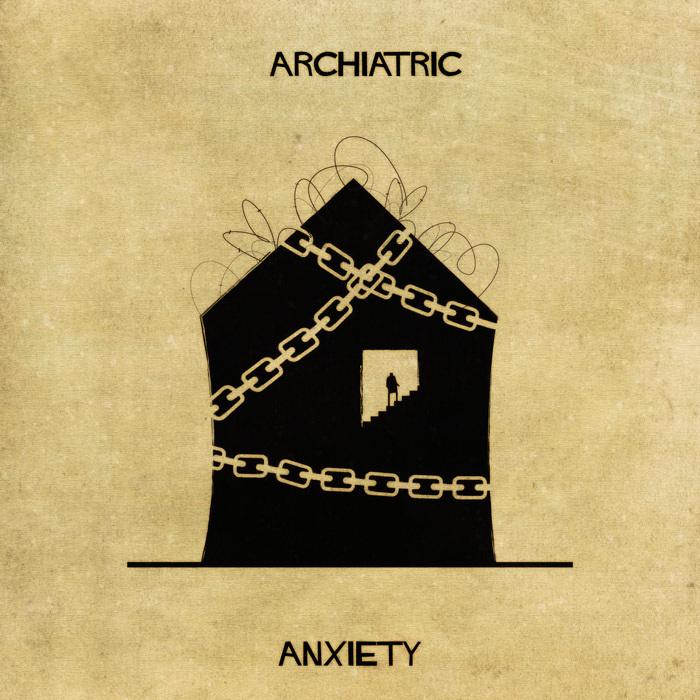 Ilustração de uma casa representando a ansiedade