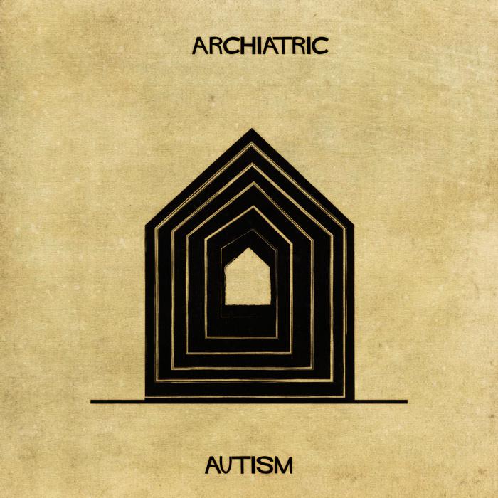 Ilustração de uma casa representando o autismo