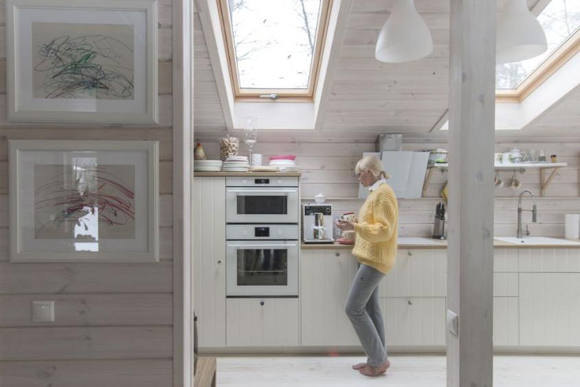 Cozinha de casa pré-fabricada