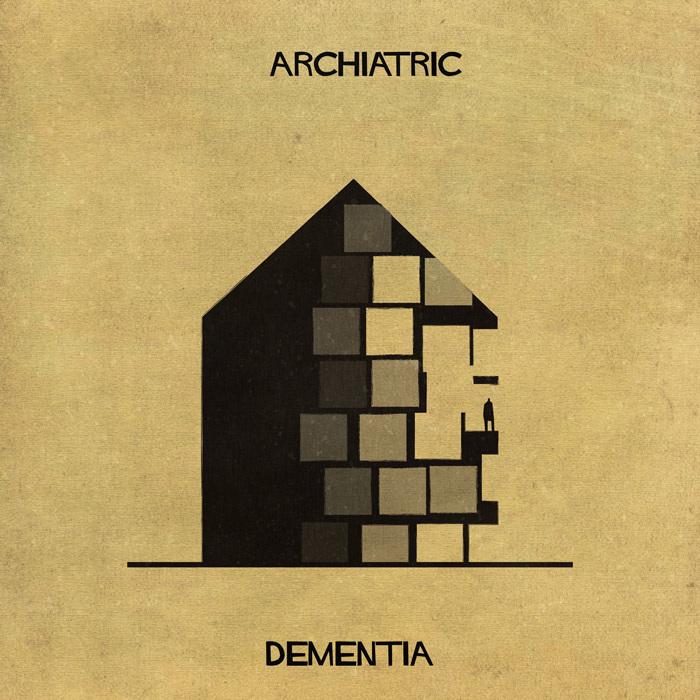 Ilustração de uma casa representando a demência