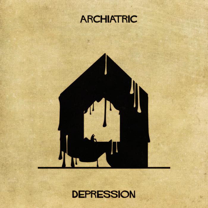 Ilustração de uma casa representando a depressão