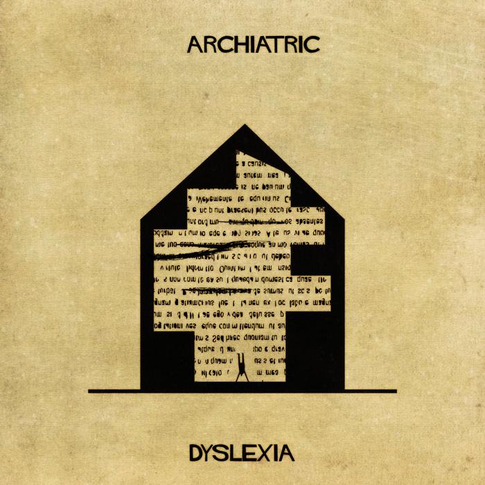 Ilustração de uma casa representando a dislexia