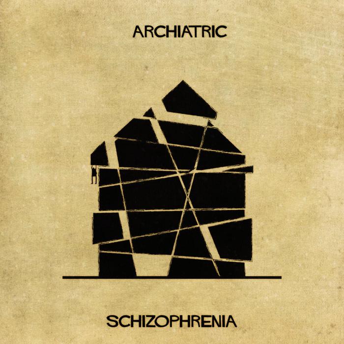 Ilustração de uma casa representando a esquizofrenia