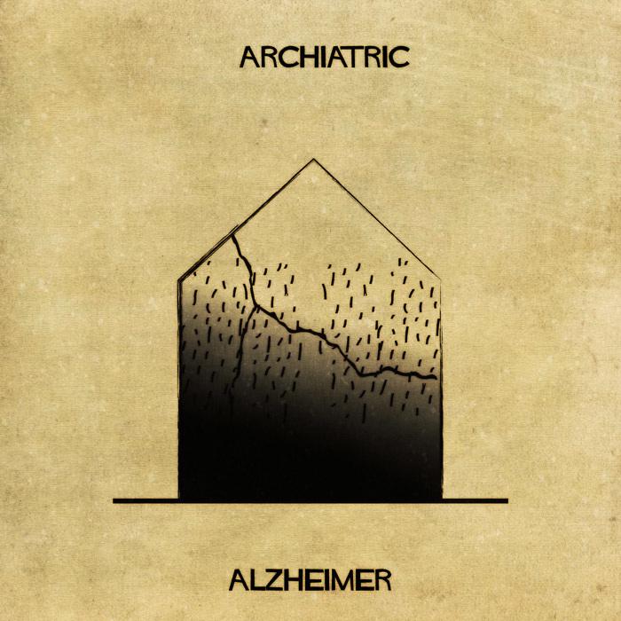 Ilustração de uma casa representando o mal de Alzheimer