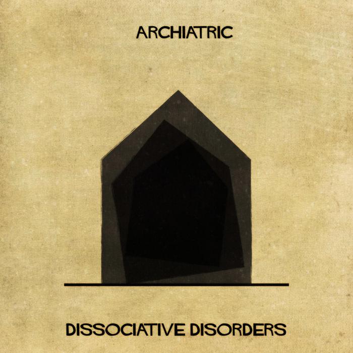 Ilustração de uma casa representando transtornos dissociativos