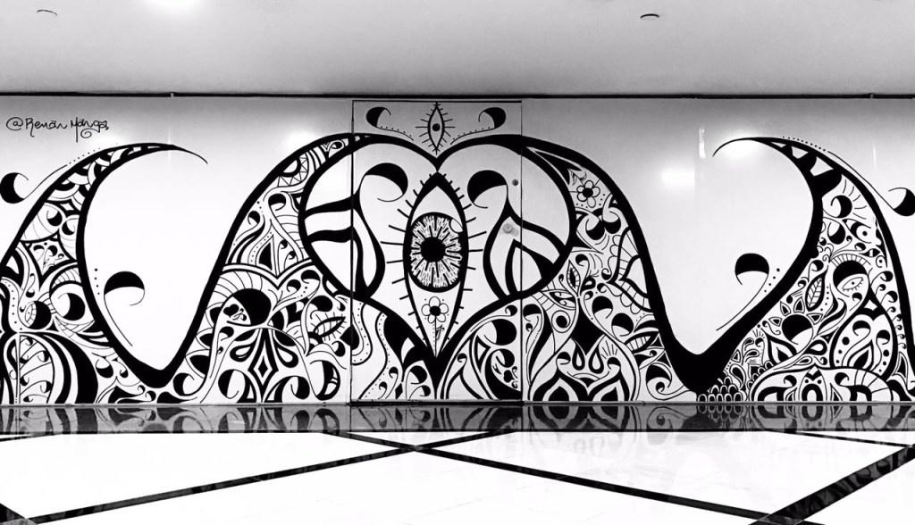 Intervenção artística é realizada dentro do Shopping Eldorado