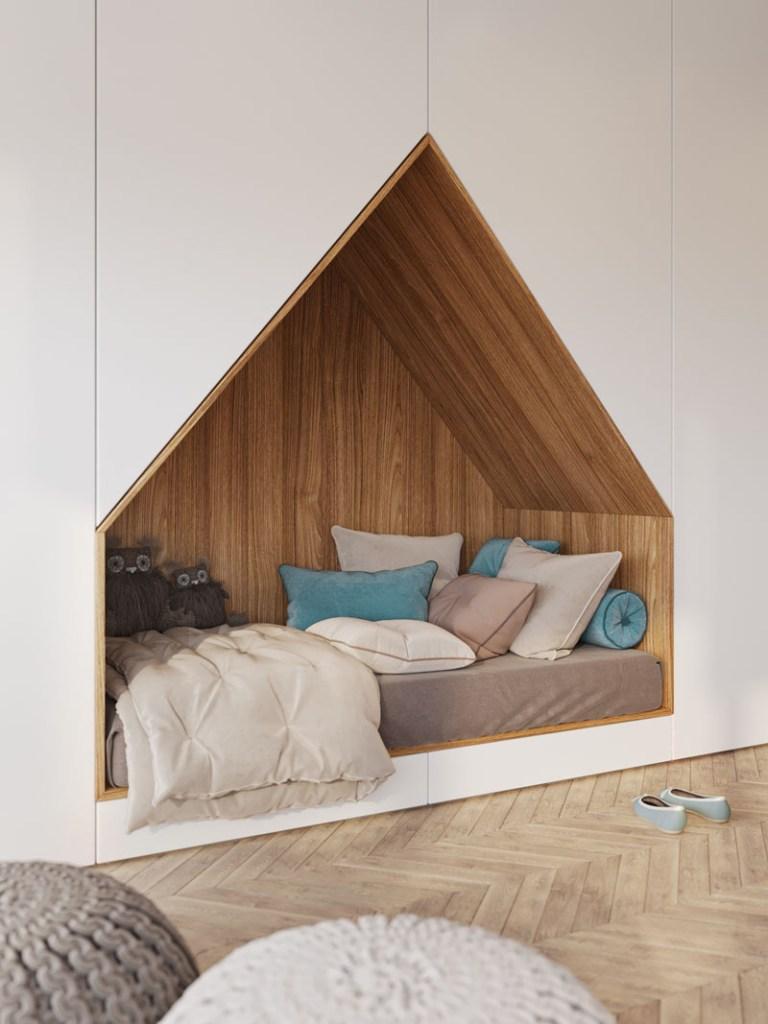 Quarto de criança com cama em formato de casinha