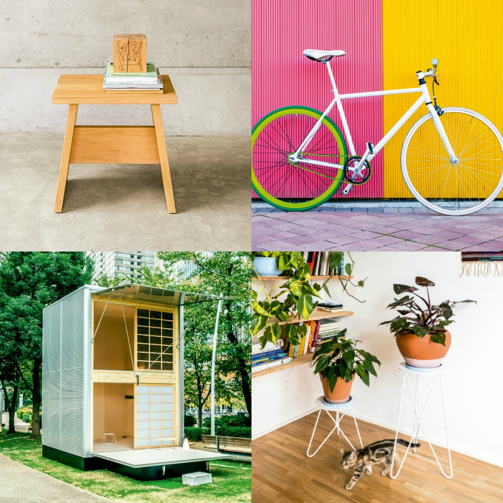 O banquinho da E15, a bike e a vida em microcasas combinam com a simplicidade da tendência e seus espaços confortáveis, cada vez menores e com infraestrutura reduzida. Os vasos da Selvvva completam a cena.