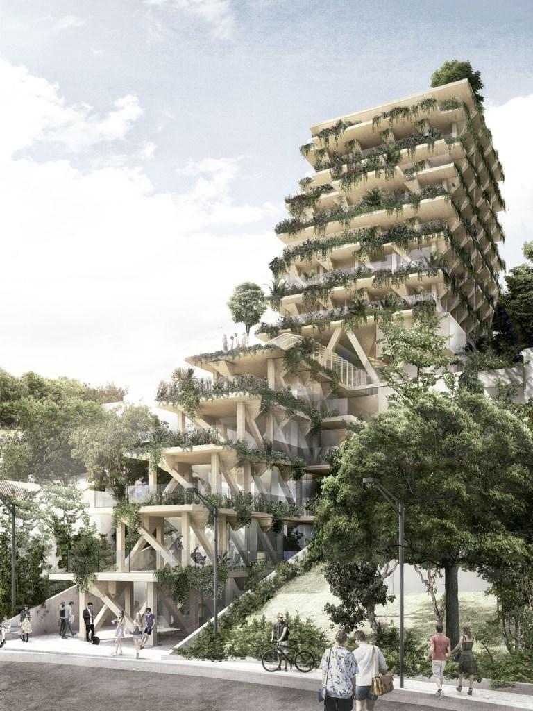 Madeira certificada será a principal matéria-prima do edifício paulistano Amata, assinado<br />pelo Tryptique.