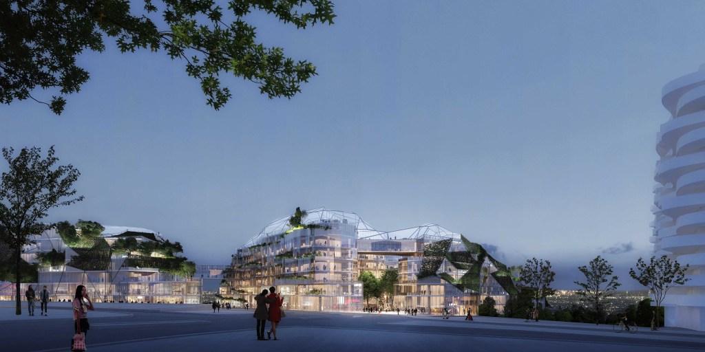 Com área superficial de 65 mil metros quadrados, o complexo parisiense será composto por dois prédios de fachada geométrica alternada entre vidro e jardins