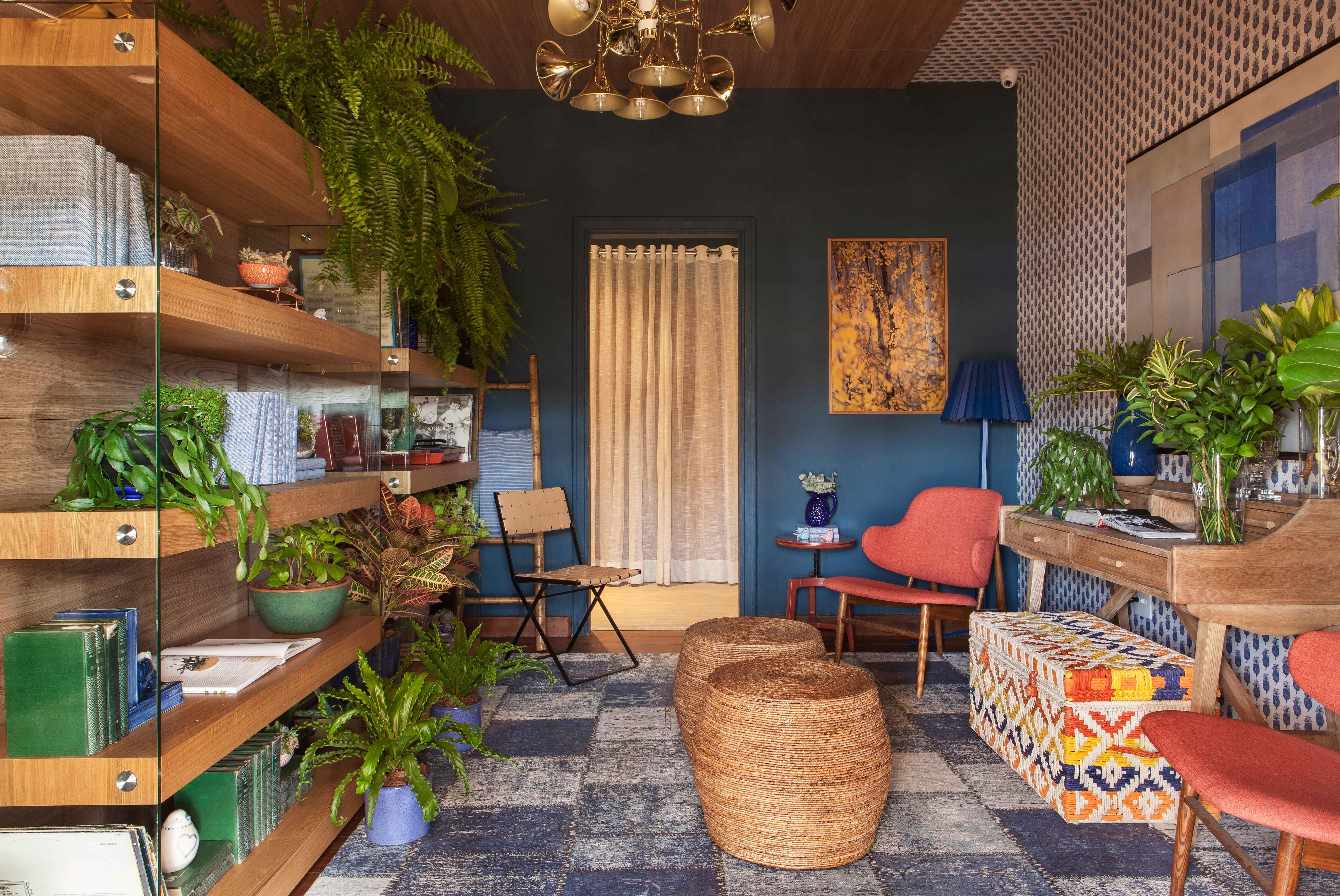 Living colorido com muitas plantas