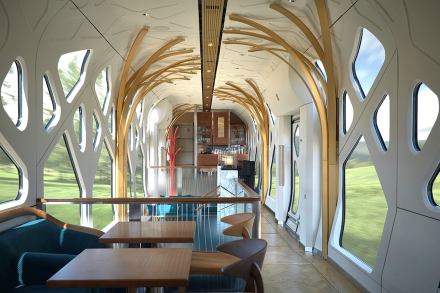Train Suite Shiki-Shima, da East Japan Railway Company, com conceito de Shin-Yu Tan-Bo, é uma suíte de trem