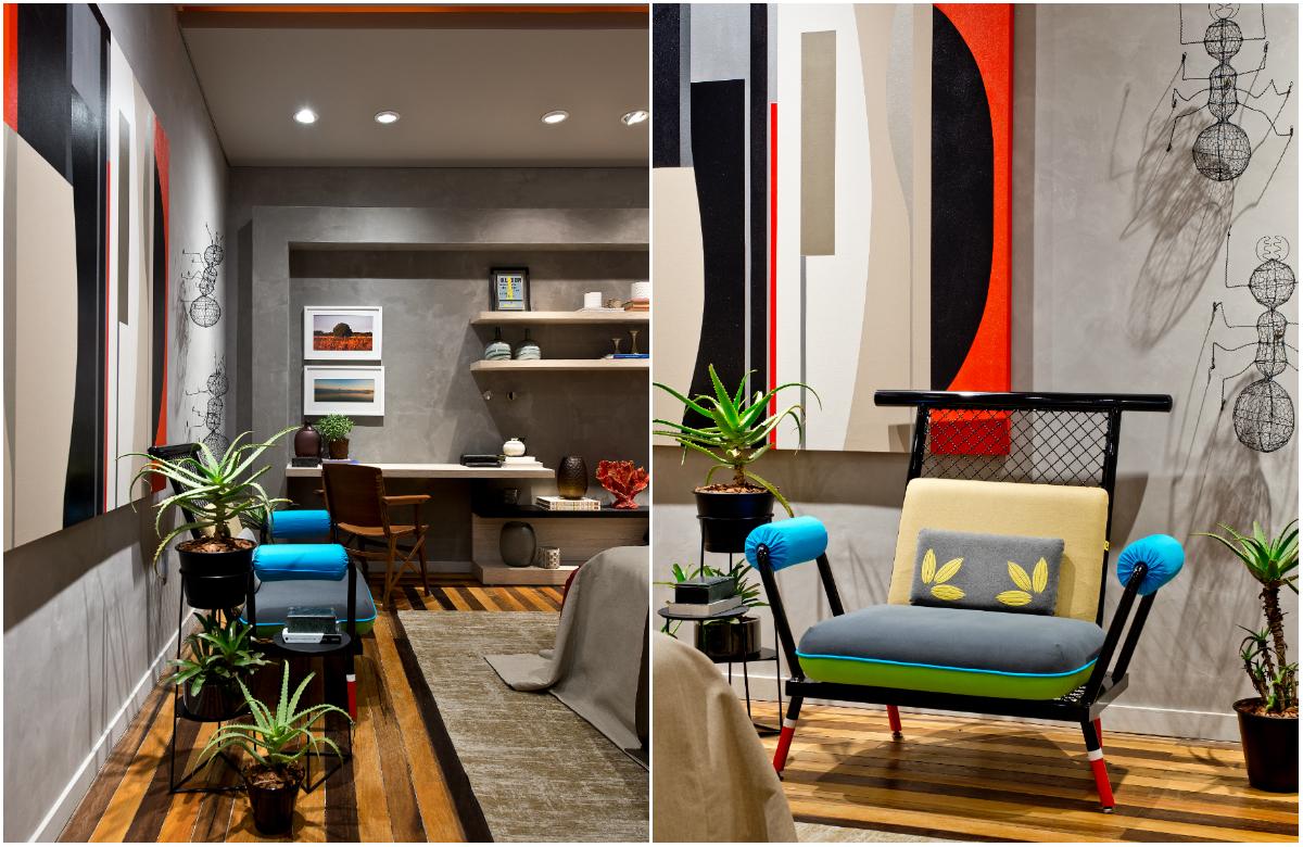 Suíte com paredes de cimento queimado e cores vibrantes no décor