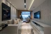 Apartamento de 180 m² com decoração moderna e tons de cinza