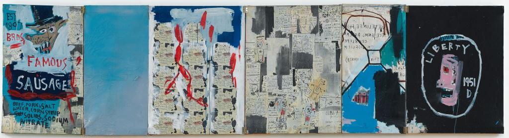 A linguiça do irmão, 1983. Acrílico, tinta a óleo em bastão e colagem de papel sobre tela.