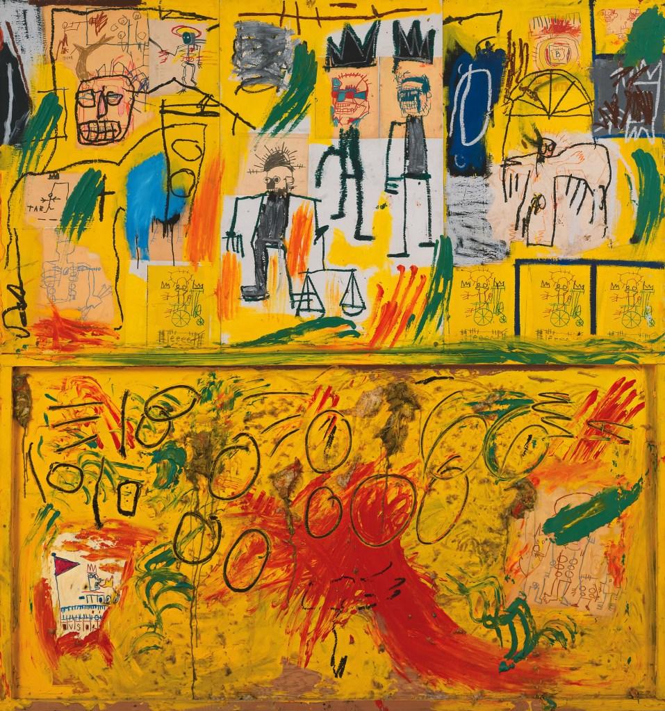 Sem título (Penas e Alcatrão Amarelo), 1982. Acrílico, tinta a óleo em bastão, giz,colagem de papel e couro em painéis de madeira.