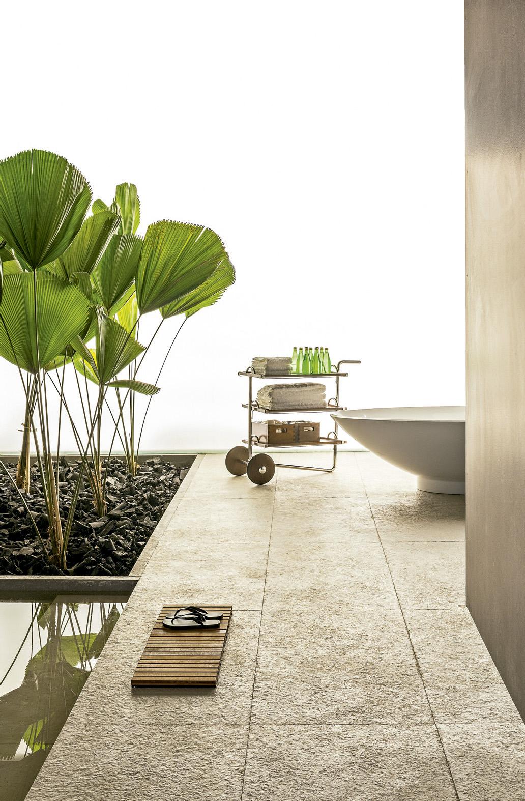 Banheiro com décor zen repleto de plantas