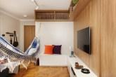 Sala de estar com espaço para rede