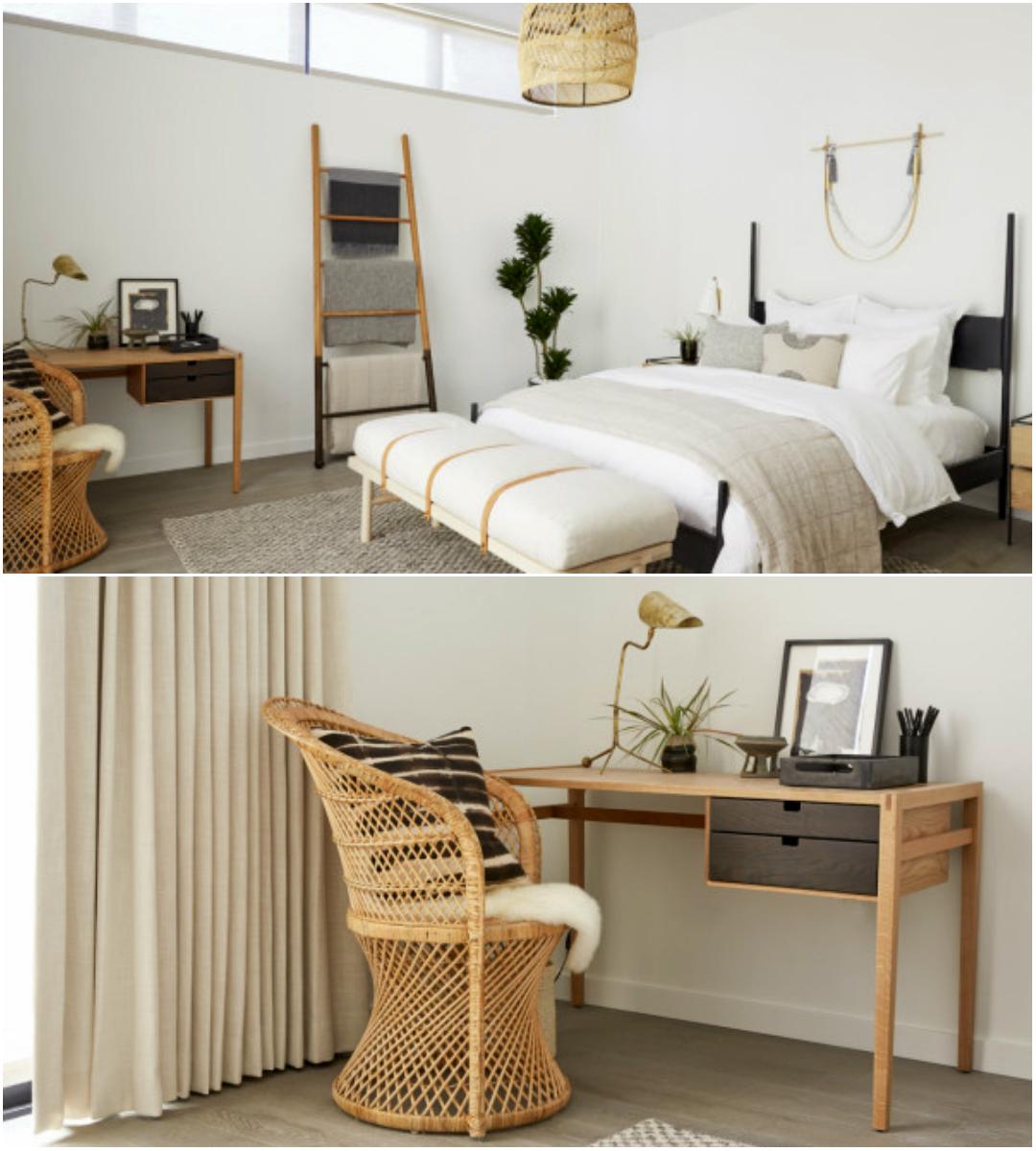 Quarto de hotel mescla materiais naturais e tons claros