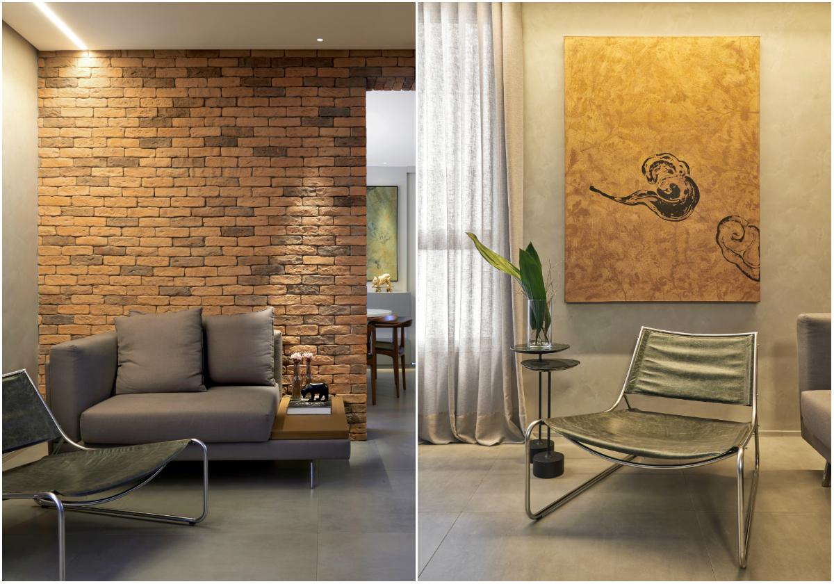 Móveis com design elegante contrapõem base rústica deste apê