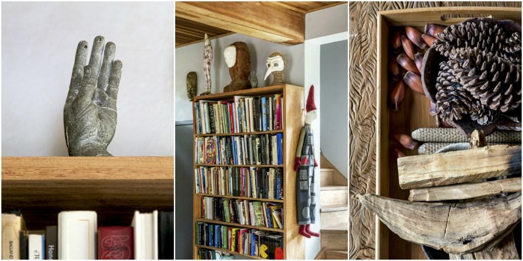 Esculturas trazidas de Paris, criações do morador e pinhas