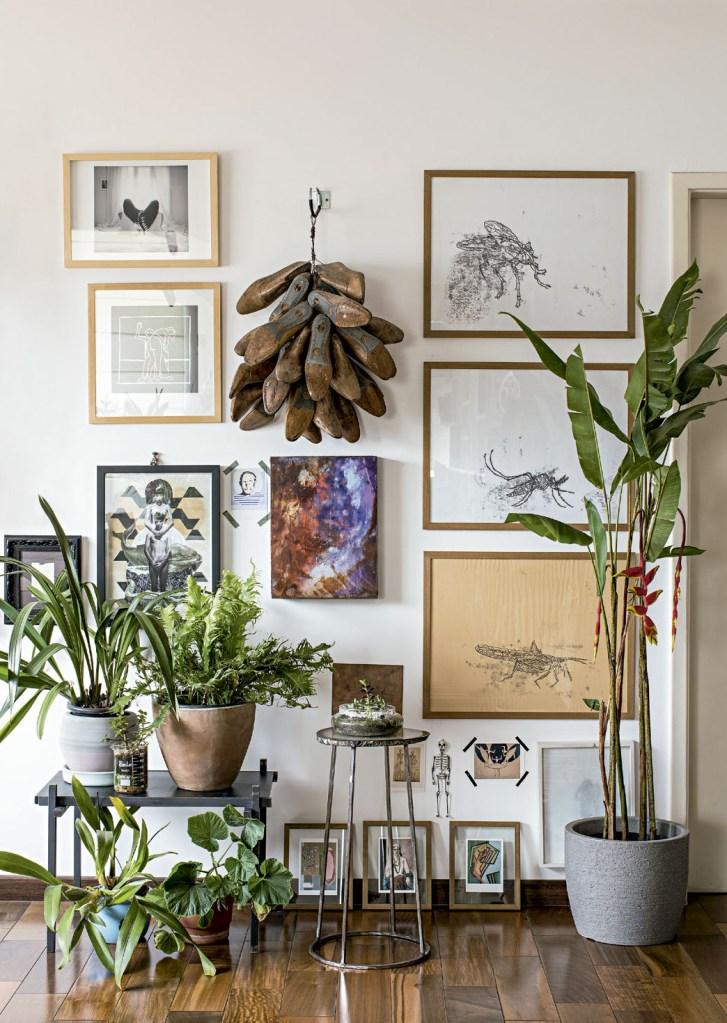 À direita, uma helicônia e, sobre a mesa baixa (Garimpodsgn), samambaia-papel e orquídea. Na parede, gravuras de insetos de Andréa Cassolari. O projeto do apartamento é do arquiteto Rodra Cunha, da Rodra Arq.