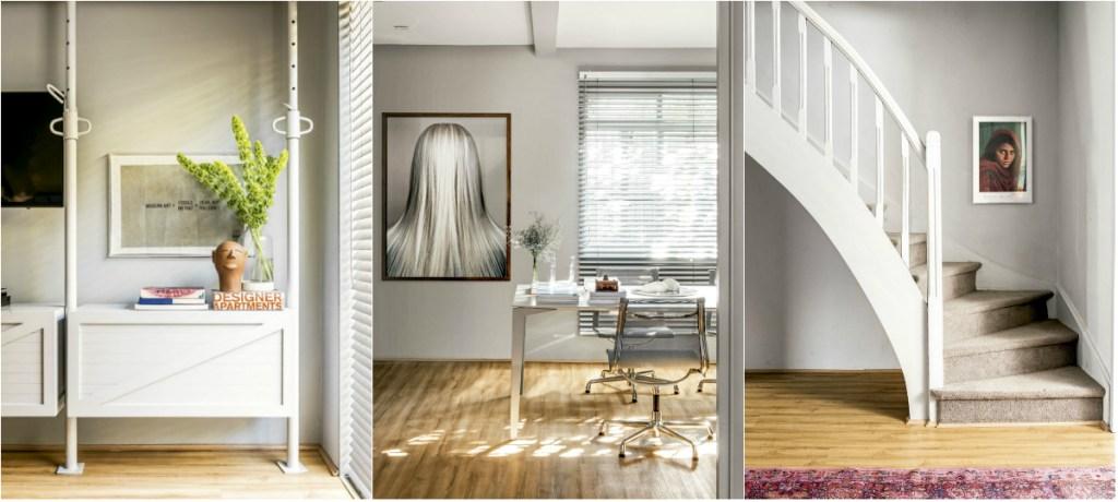 À esquerda, a sala de reuniões conta com bancada desenhada pela equipe da Yamagata Arquitetura. No centro, o quadro Cabelo, de Edgard de Souza, enfeita o hall bem iluminado. À direita, o retrato Menina Afegã, de Steve McCurry, decora a parede<br />da escada.