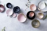 bowls em tons de rosa e azul